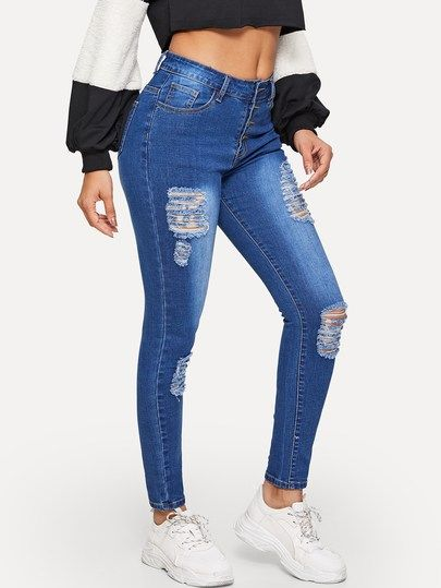 4ecb6d984 Ripped Faded Wash Button Fly Jeggings in 2019 | Demin Is Cool|Jeans ...