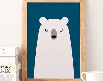 Bear Print Nursery Wall Art Modern Decor Cute Black Kids Room Minimal Baby M
