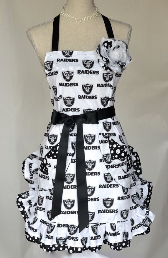 Womens Full Oakland Raiders Print Apron Black by OliviabyDesign, $32.95 #raider nation