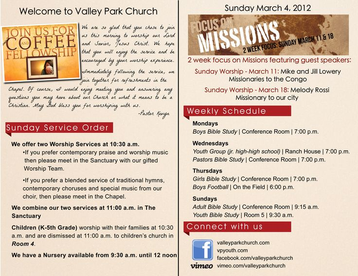 Church Bulletin (Before & After) | Churches, Church Ideas And