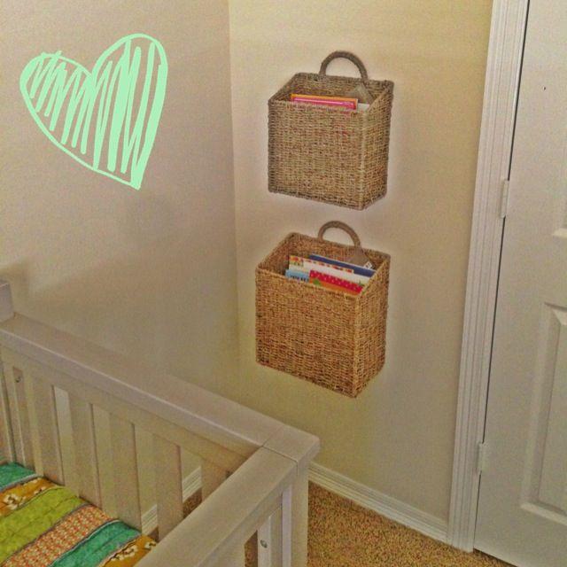 Book storage for nursery or children 39 s room wall hanging for Nursery hanging storage