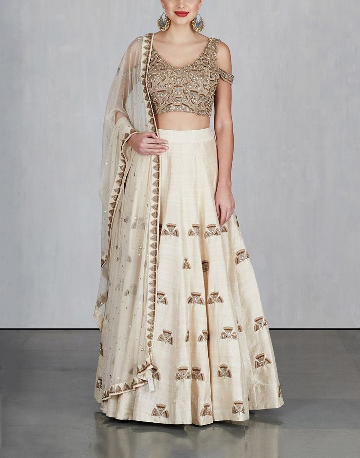 Off White Ginkgo Lehenga with Cold Shoulder Blouse and Dupatta