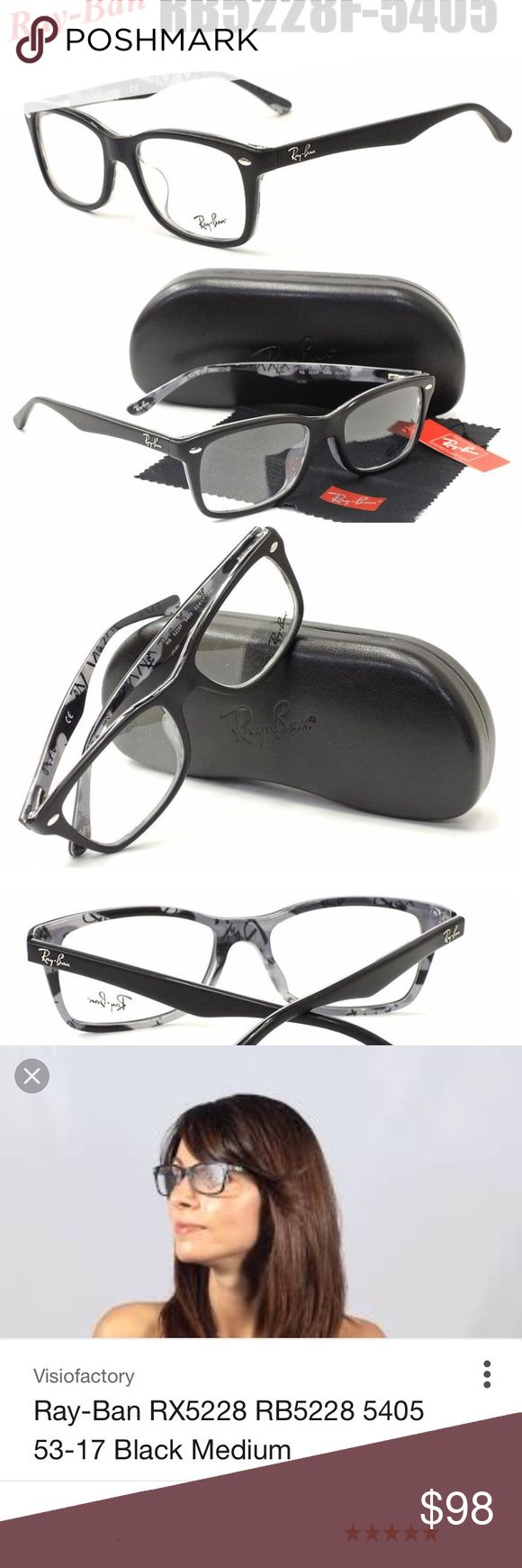 New Ray ban eye glasses RX5228 5405 53-17-140, New Ray ban eye glasses.  Black/Blue Frame / Clear Lenses unisex men's women's.  New in box, come w original Ray-Ban's box and wipe. Ray-Ban Accessories Glasses