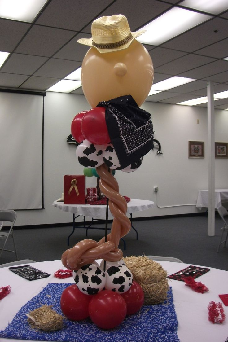 Www juneausbestballoons com western themed balloon centerpiece quot cowboy quot designed by balloons by