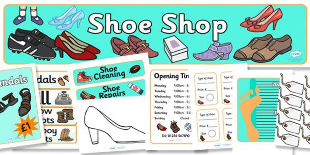 Shoe Shop Role Play Pack - premium membership needed to download.  Like the templates for design your own shoes - could link to technology and science??
