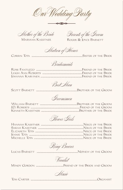 free printable wedding programs templates Wedding Party - how to design wedding program template