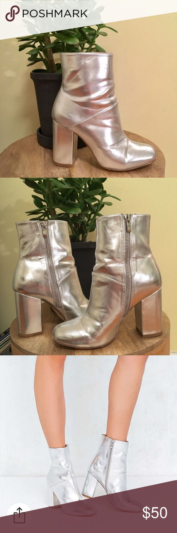 URBAN OUTFITTERS Metallic Silver Ankle Boots Mildly obsessed with these boots. Metallic silver heeled boots from Urban. Comfortable block heel and inside zipper. These have only been worn a few times and are in great condition! Urban Outfitters Shoes Ankle Boots & Booties