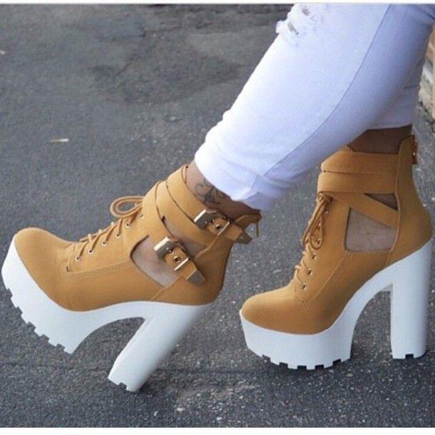white timberland heels