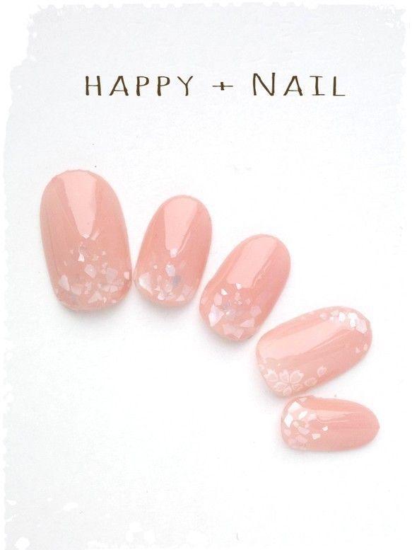 春上品シェル埋め込み桜ネイル♪ジェルネイルチップ☆(出産予定の為3月末に販売を休止させて頂きます。ご注文はお早めに^^