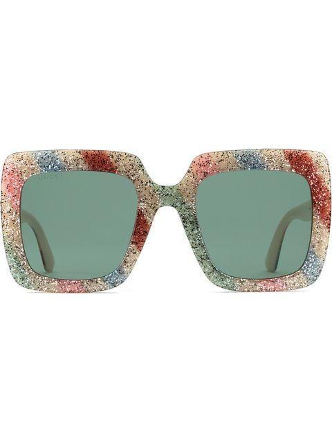 5fe0af7f5e Gucci Eyewear Square-frame Glitter Acetate Sunglasses - Farfetch ...
