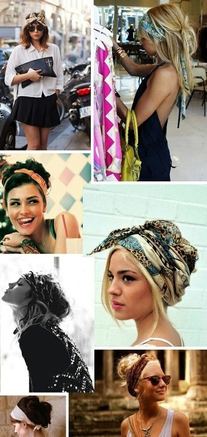 Hot weather hairstyles - messy high buns for long hair, I love the very last one so cute. I wear my hair like that every day just without the scarf. Would be a cute touch.