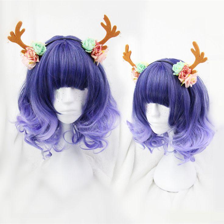 Purple Lolita Curly Short Hair Wig SP166712
