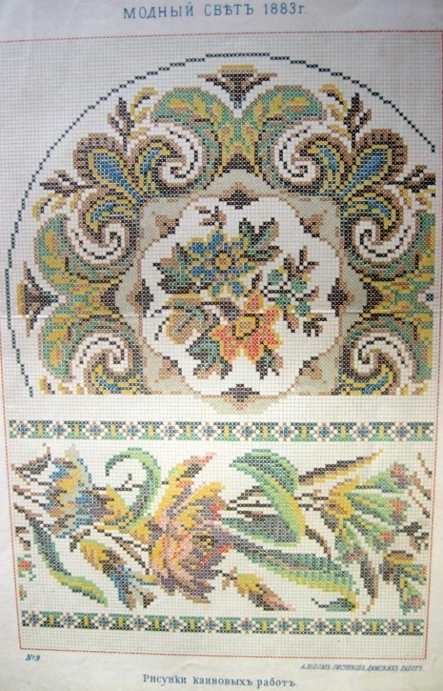 Когда-то от бабушки мне достался сундук с потрясающим кружевом, тканями, нитками и прочим великолепием. А на дне этого сундука лежала папка. Вот эта: Я понятия не имею, откуда она у бабушки взялась. Но внутри этой папочки лежали ещё более фантастические сокровища: целая пачка схем вышивок. Старинные, второй половины 19-ого века. В основном - крестик и полукрестик, немного глади и ришелье, чуть-чуть аппликации. Очень красивые.