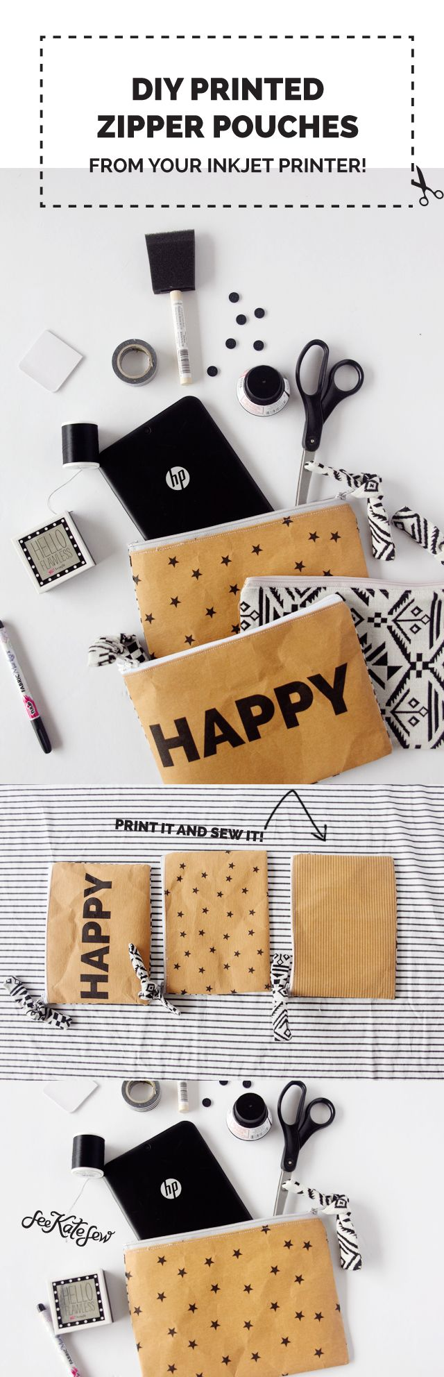 "Yesterday I posted about 5 secrets to doing it all, including sneaking away to my ""happy place."" I made these printed pouches to go along with that post! I made the HAPPY pouch to hold my tablet but it was so fun I made a few more. Today I'm sharing the tutorial for these pouches! …"