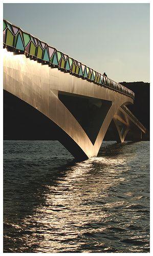Pedro e Inês footbridge over the Mondego river, Coimbra - Portugal. Designed by Cecil Balmond and Adão da Fonseca.