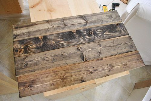 Making new wood look old. Love!