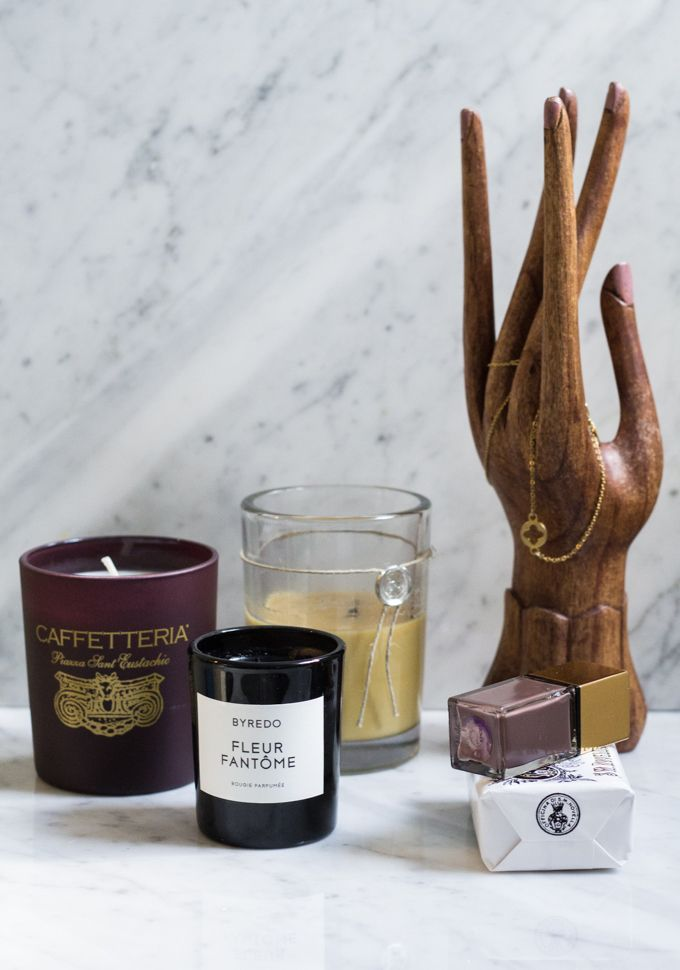 Scented candles, home details via Coffee Table Diary