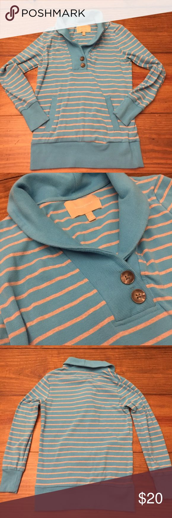 Banana Republic Shawl Neck Collared Sweater Very comfy Small Banana Republic Sweater with pockets. Color is light blue with grey stripes. Pockets in front. Excellent Condition Banana Republic Tops Sweatshirts & Hoodies