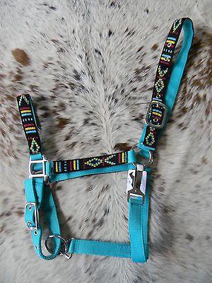 HOT TEAL Nylon Horse Halter Colorful Navajo Overlay Halter New Horse Tack