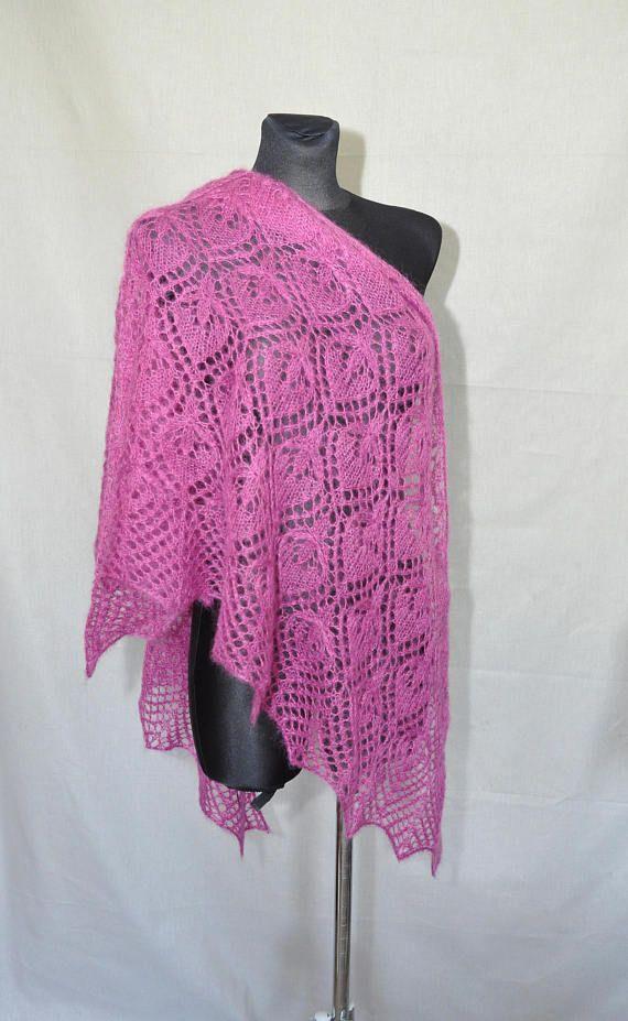 Magenta Hand Knit Lace Shawl Fuchsia Knit Shawl Woman Lace #MagentaHandKnitLaceShawl, #FuchsiaKnitShawl, #laceshawl