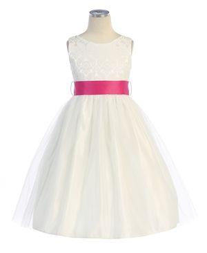 girls' jacquard bodice tulle skirt dress | off white flower girl dress- Item #394SWK.  (With gold sash preferred)
