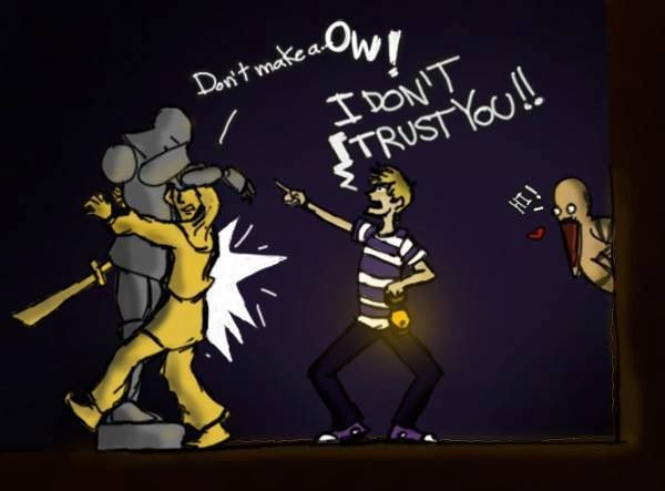 PewDiePie and Stephano with the Untrusted Statue ...