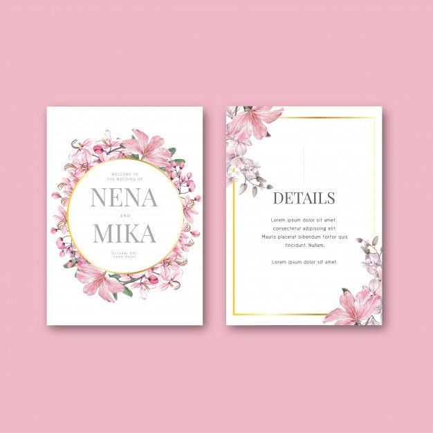 Floral Weeding Card Set Premium Vector Freepik Vector