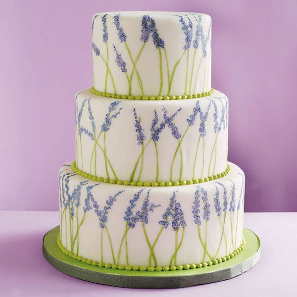 Hand-painted lavender flowers and beaded royal icing make a sweet statement