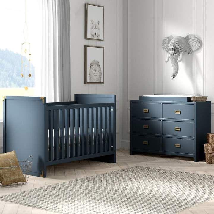 Greyleigh Benbrook 2 In 1 Convertible 3 Piece Crib Set Nursery Furniture Sets Baby Boy Room Nursery Blue Crib 3 piece crib set furniture