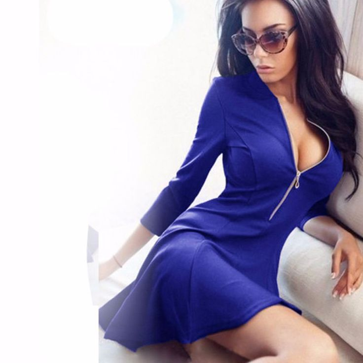 Solid Pleated V-neck Sexy Ladies Dresses http://mobwizard.com/product/2016-autumn-fashion-32647860926/