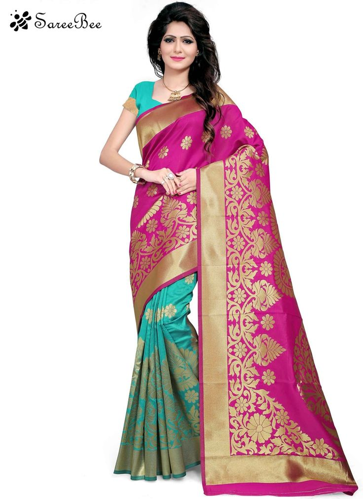 Riveting Woven Work Firozi And Hot Pink Designer Traditional Saree  Sensible colors and excellent designs and romantic moods are reflected with an alluring style. Get the simplicity and grace with this firozi and hot pink art silk designer traditional saree. The lovely woven work a substantial feature of this attire. Comes with matching blouse.