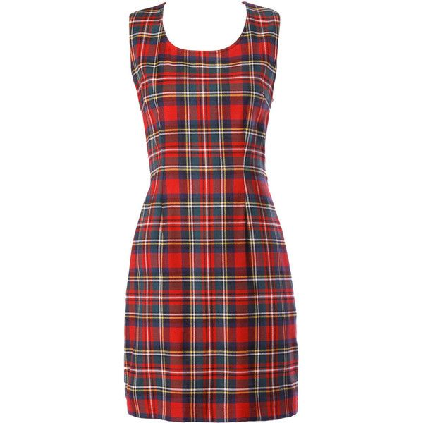 Pre-owned Unworn Moschino Vintage 1990s 90s Red Tartan Plaid Mini... ($475) ❤ liked on Polyvore featuring dresses, vestidos, day dress, sheath dresses, moschino, tartan dress, vintage red dress, red plaid dress and mini dress