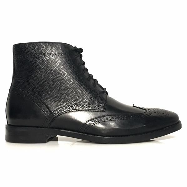 Brand: Cole Haan Name:Cambridge Wing Boot Color: Black Style : Upper:  Smooth Leather With Grain Leather Details Outsole: Leather Lining: Leather