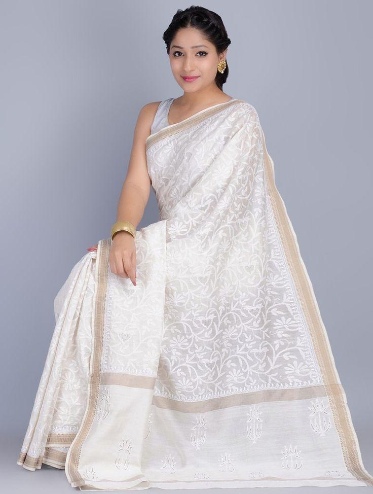 Off-White Chikankari Embroidered Silk Cotton Maheshwari Saree By Malavika on Jaypore.com