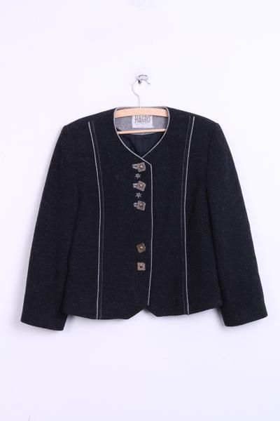 HAGRO Country Womens 12 M Blazer Tirol Style Black Wool Austria Top Suit - RetrospectClothes