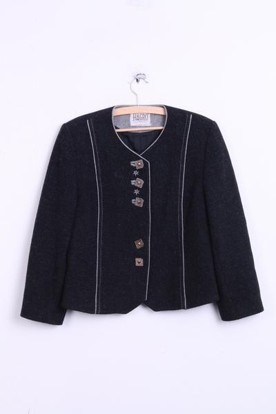 HAGRO Country Womens 12 M Blazer Tirol Style Black Wool Austria Top Suit - RetrospectClothes