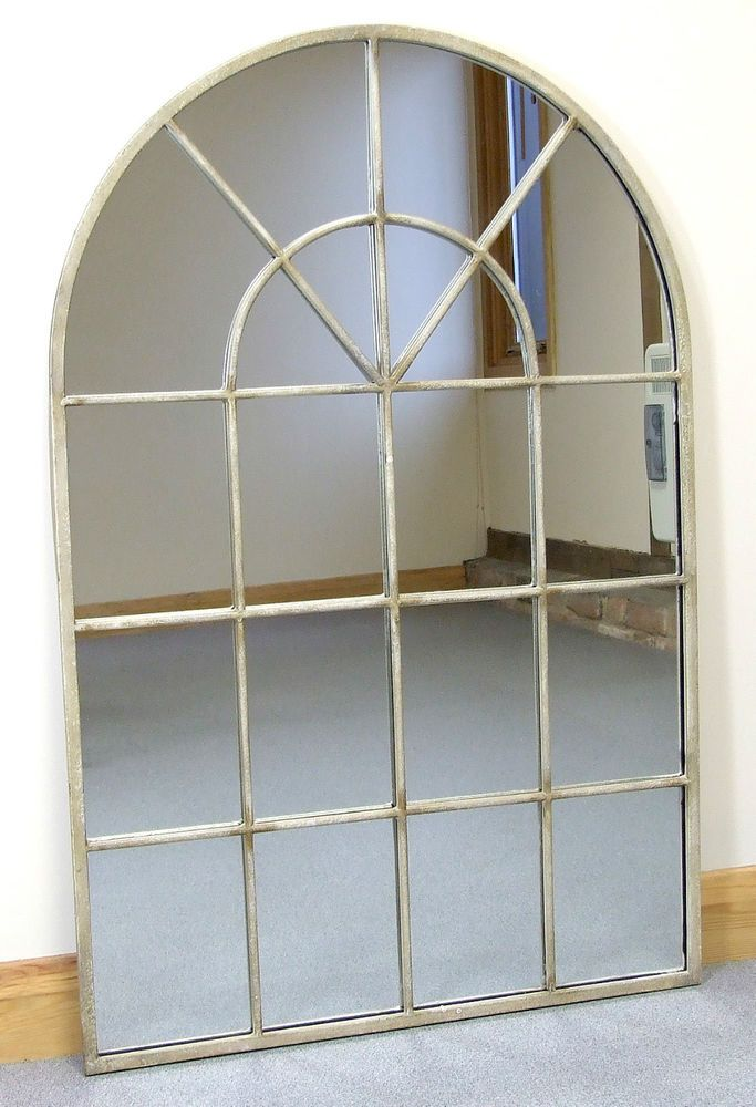 Details about Kelford Large Vintage Painted Cream Metal Arched Window Wall  Mirror 35.5 x 23.5
