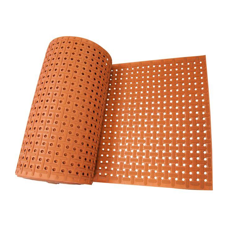 "Rubber-Cal 'Paw-Grip' Anti-slip Red Floor Mat (3/8 x 34"" x 120""), Orange, Outdoor Décor"