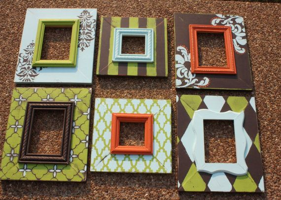 Distressed Picture Frame Set in Lime Aqua and by roundthebendshop
