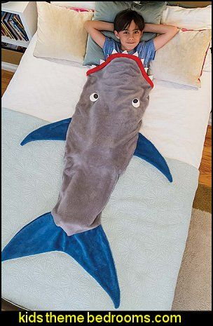 Shark Blanket by Blankie Tails - Gray and Deep Blue                                                                                                                                                                                 More