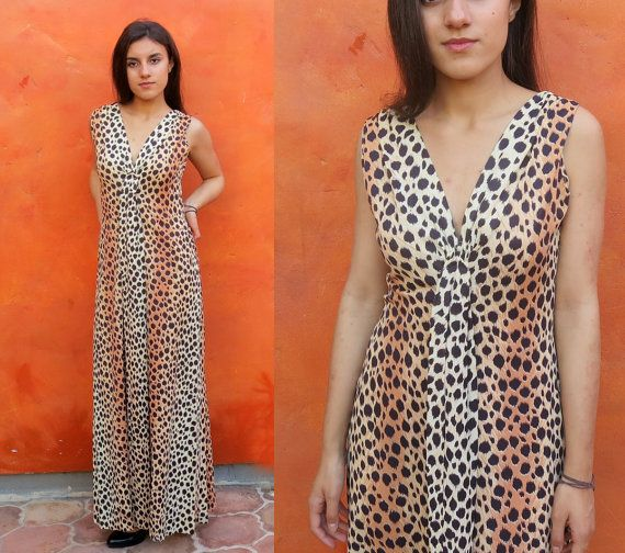Vintage 1960s 1970s Leopard Vintage 1960s 1970s Leopard print MAxi Dress. Sleeveless. Animal print festival dress boho hippie gypsy coachella bohemian by SweetPickinsShop