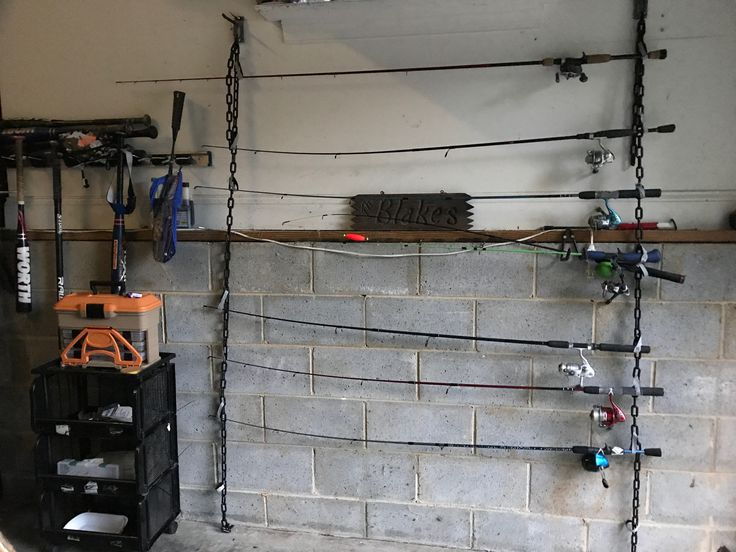 An easy way to store countless fishing poles using plastic chain links and Velcro tie wraps. #fishingpoles