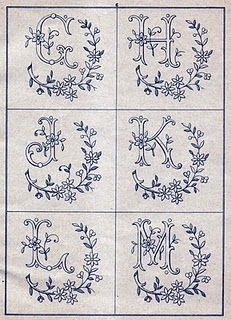 Excellent source for antique monogram patterns.  Thinking of my friend, Dorothy and her love of all things sewing/craft/embroidery :)