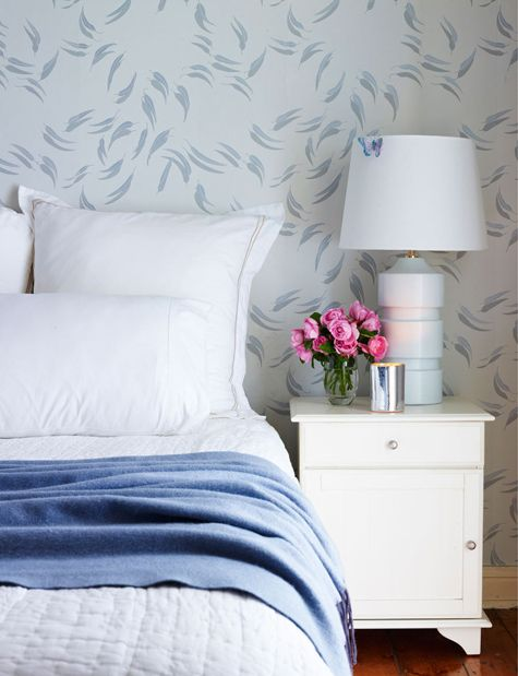 tranquil bedroom...love the wallpaper (Moore & Moore wallpapers, Australia)