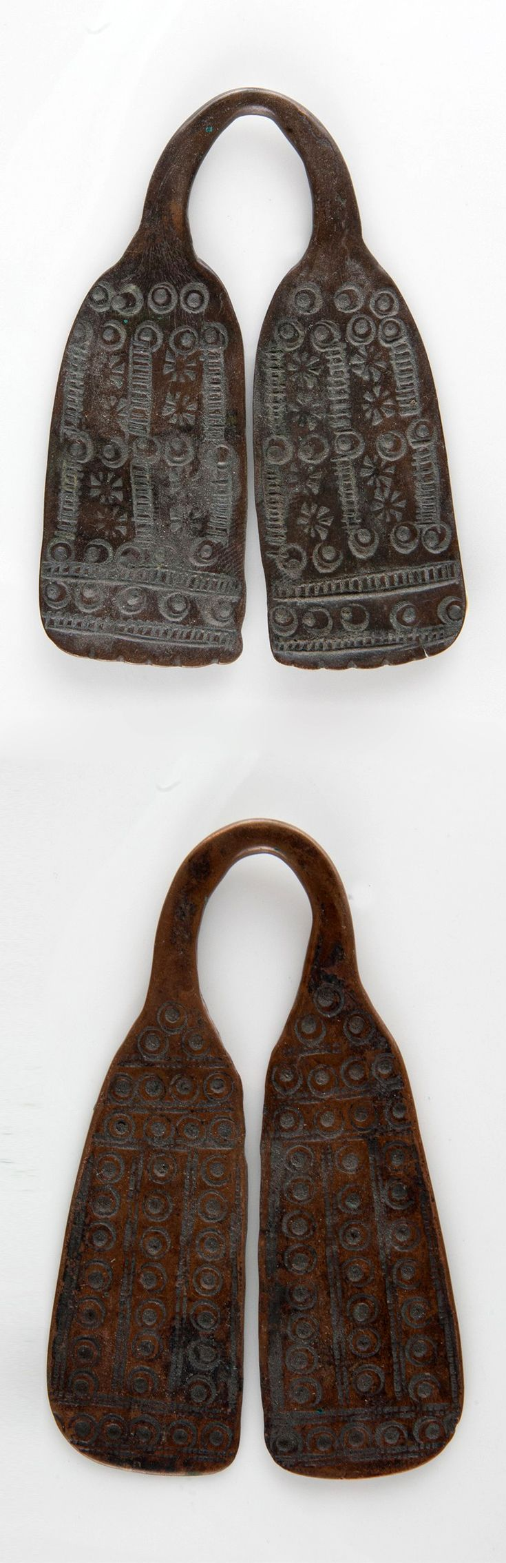 Ethiopia | Two pendants from the Sidamo / Oromo people | Copper | Height: 8 cm & 9 cm