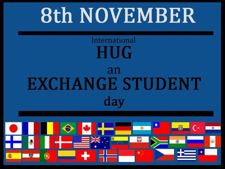 Afbeeldingsresultaat voor international hug an exchange student day