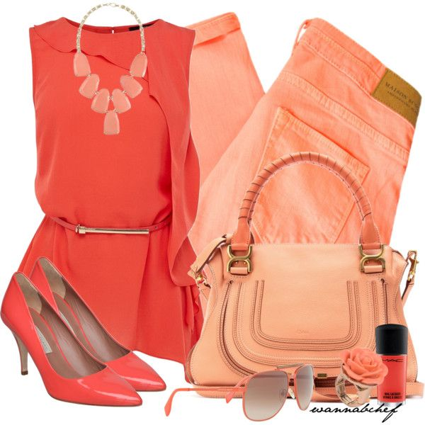 """Shades of Hue: Coral"" by wannabchef on Polyvore"