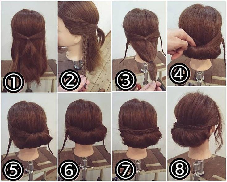 【再投稿】 先ほどの投稿スタイルの作り方です! ギブソンタックアレンジ ① 両サイドの耳から前の髪を後ろで結びます。 ② 耳の後ろの髪を適量とり三つ編みにします。 ③ 反対側の耳の後ろの髪も三つ編みにします。毛先は折り返してゴムで結んでおきましょう。残っている髪はこのようにゴムでひとつにまとめます。 ④ それを①の中に入れ込むようにして… ⑤ 両側からピンで固定します。 ⑥ 両わきを広げてピンで留めておきます。アメリカピンでもいいですがUピンで留めると髪が吊らずに綺麗に留まると思います。 ⑦ 最初に作った三つ編みを交差させるようにピンで留めます。 ⑧ 少しずつ髪を引き出して柔らかくかたちを整えたら出来上がりです! #横浜美容室#ヘアサロン#ヘアエステ#美容室#ヘアアレンジ#ヘアアレンジ解説#ヘアアレンジプロセス#簡単アレンジ#まとめ髪#ヘアスタイル#アンティーク#ギブソンタック#三つ編み#アップアレンジ#横浜#石川町#元町#nest