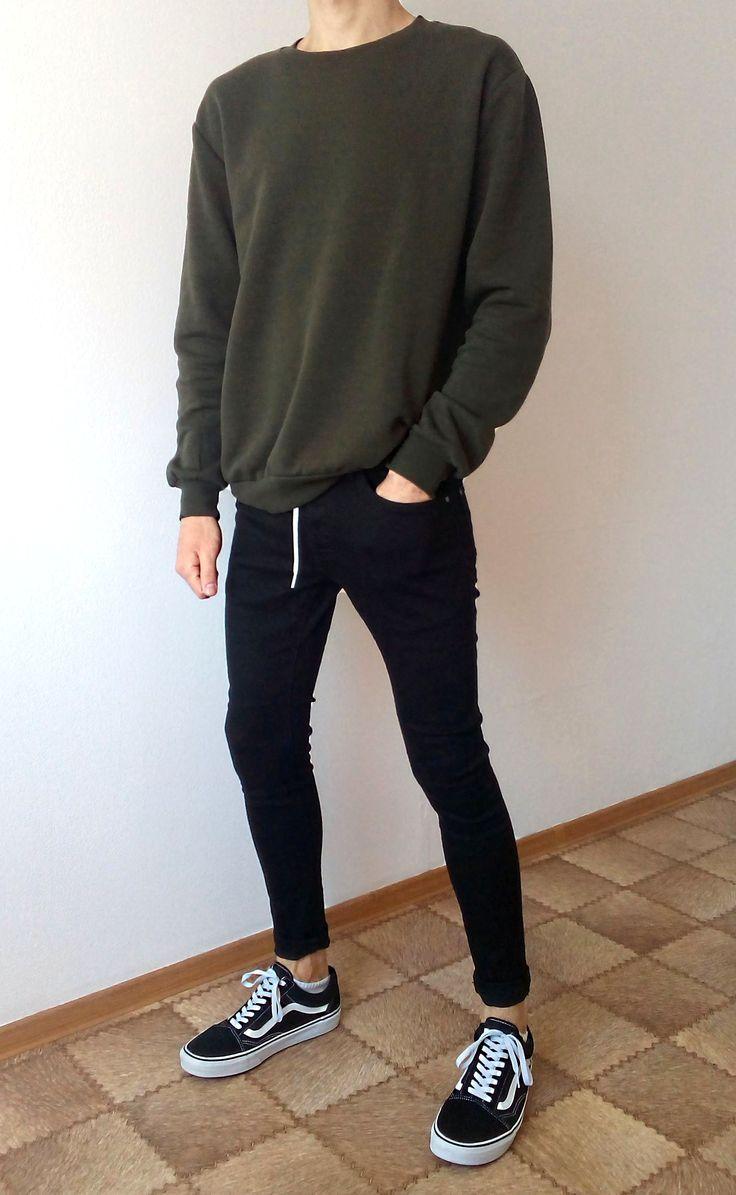 vans old skool schwarz skinny jeans boys jungs outfit   Moda
