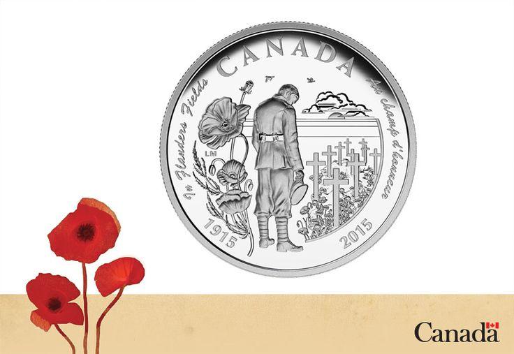Le 30 avril, la Monnaie royale canadienne a dévoilé une pièce commémorative pour souligner le 100e anniversaire de la publication du poème In Flanders Fields (Au champ d'honneur), composé en mai 1915 par le médecin et lieutenant-colonel canadien John McCrae, alors plongé dans les horreurs de la deuxième bataille d'Ypres.